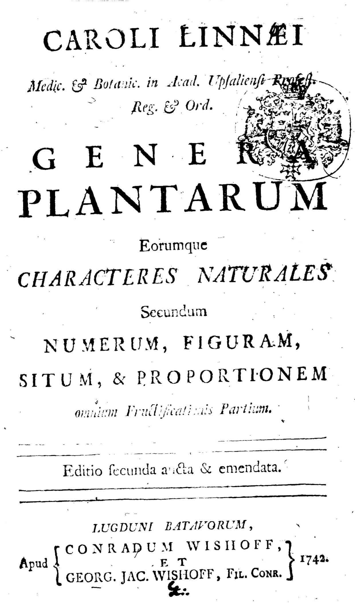 Carl Linnaeus, 1742, Genera Plantarum