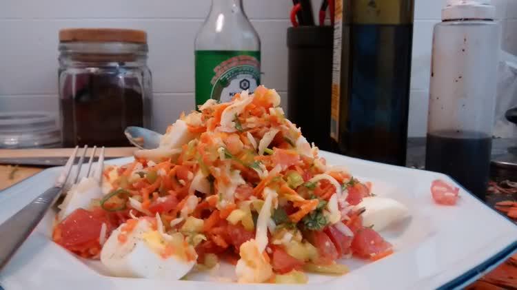 Chopped egg tomato salad.