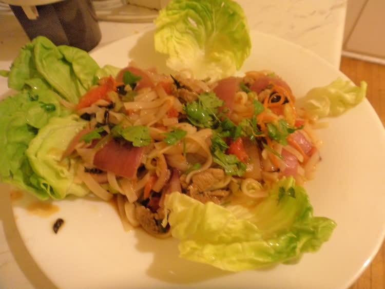 Asian noodles on lettuce